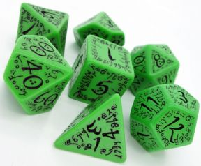 Green & Black Elven Dice Set